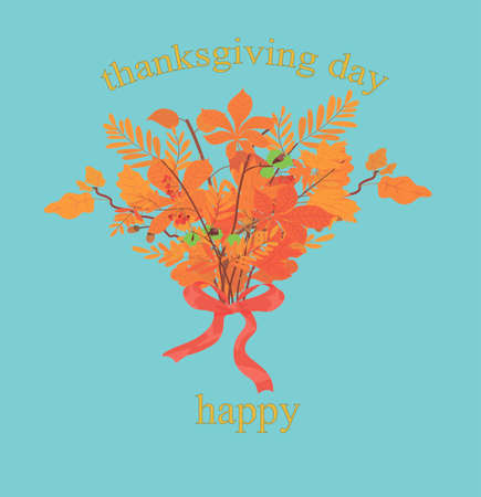 happy thanksgiving day card. gift wrap. print for congratulations and printing. poster. bouquet of autumn leaves with red ribbon. text