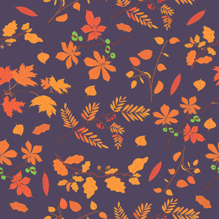 pattern with autumn foliage on a dark background. orange, yellow and red leaves on a purple background. pattern for printing postcards and gift wrapping. autumn forest. tree branches Иллюстрация