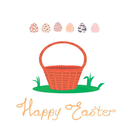 Happy Easter postcard. gift card, print on packaging. basket for collecting eggs. Easter decorated eggs. wicker basket on the lawn. spring view. hand lettering