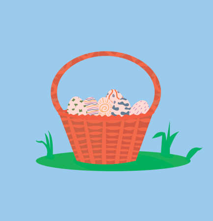 Holy Easter. Postcard Happy Easter. gift card, stamp on the package. basket for collecting eggs. Decorated Easter eggs. wicker basket on the lawn. spring view. Vektorgrafik