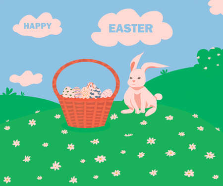 holy easter. Happy Easter postcard. illustration for the Easter holiday. basket with Easter eggs in a meadow with flowers. white rabbit and easter eggs. Easter symbols. spring landscape. Çizim