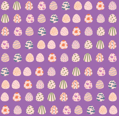 pattern with Easter eggs. pattern on a bright purple background. holy easter. decoration for printing wrapping paper. wallpaper. print