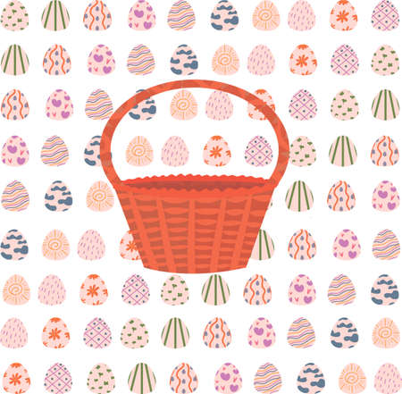 pattern with Easter eggs. wicker basket. background of eggs. holy easter. decoration for printing on wrapping paper. wallpaper. Print