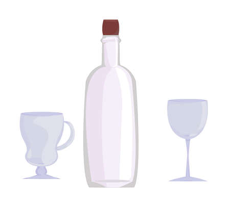 a set of dishes: an empty wine bottle and two glasses (one on a long stem and the second for mulled wine). clean glass. alcoholic products. wine glasses for the holiday. vector