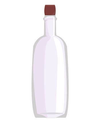 glass wine bottle. alcoholic beverages. winemaking. clear glass. container for liquid. empty transparent bottle. vector
