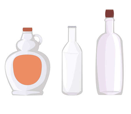 set of three different bottles: for syrups and butter, for beer, milk and soda, and for wine or spirits. home stuff. glass production. containers for liquid. dishes of different shapes. transparent material. various household goods. vector