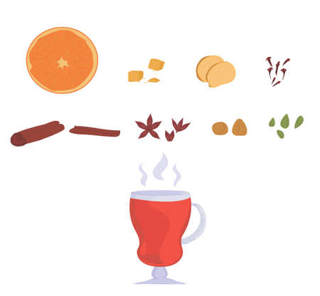 set for mulled wine. glass of mulled wine. recipe for making a hot drink from wine with spices. doodles isolates. poster for cafe and restaurant menu. winter and autumn season. vector Иллюстрация