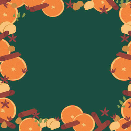 frame for advertising and congratulations with spices and orange slices. spicy ornament: anise, cardamom, cinnamon, ginger, nutmeg. New Year card. print for napkins and party packaging. vector Imagens - 156468852