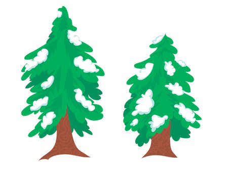tree and spruce in the snow on a white background. doodles isolates. set. Christmas tree for print, decoration of a postcard, gift, sticker. winter forest. vector