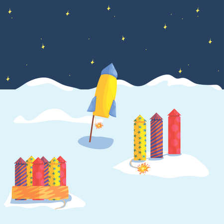 concept of launching fireworks in winter under the starry sky. winter holidays, fireworks, firecrackers and rockets. happy New Year. vector. magic illustration