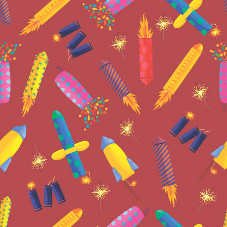 pyrotechnics pattern on a burgundy background. Festive firecrackers and sparklers, firecrackers, detonators, firecrackers. Pyrotechnics, burning fireworks - colored icons. new Year. wallpaper, wrapping paper, postcard. vector