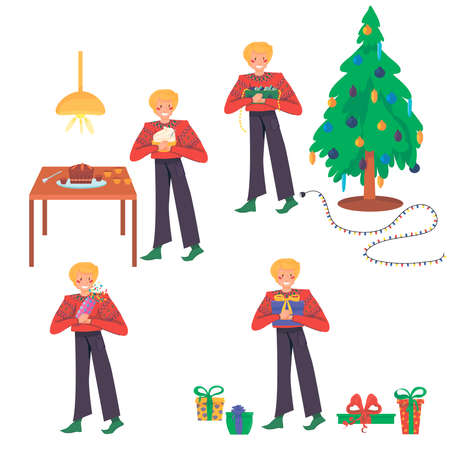 Christmas set of isolated elements of human characters and vector illustration of a Christmas tree: a guy prepares for the new year, decorates a Christmas tree, launches a clapperboard, makes gifts and prepares a cupcake. vector