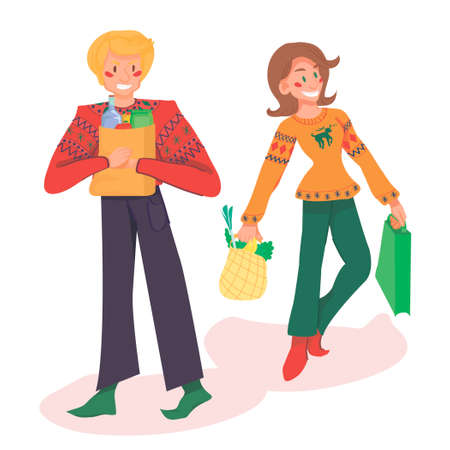 man and woman are shopping. the concept of buying products and things. a man holds a paper bag with groceries, a woman carries a shopping bag and a gift bag on a white background