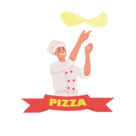 pizzeria with a chef spinning the dough. tape with the PIZZA inscription. business of cafes and restaurants, a sticker on the products. mascot. vector flat. isolated.