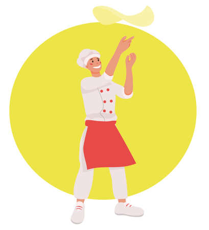 Pizzaiolo (pizza maker) prepares pizza dough. a pizzeria, business of cafes and restaurants, a sticker for products. mascot. vector flat. isolated.