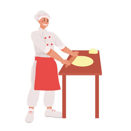 Pizzaiolo rolls out pizza dough with a rolling pin on the table. work as a cook. pizzeria. Cooking pizza vector illustration. concept of cafes and restaurants