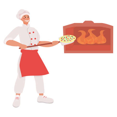 Pizzaiolo puts pizza in a stone oven with fire. pizza maker work. pizzeria. Cooking pizza vector illustration. concept of cafes and restaurants