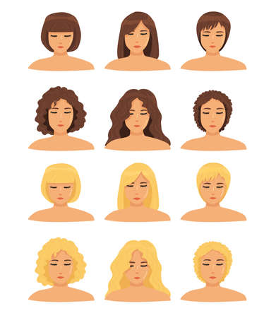 a set of different types of hair (curly, straight), different hair lengths and different hair colors for girls. icons isolated. 6 different haircuts and hairstyles. blondes and brunettes. vector flat Vetores