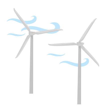 windmills. carbon-free renewable energy sources. environmentally friendly production. ecology. illustration the wind sets the blades of the mill in motion. vector flat. isolated on white background