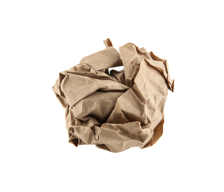 Crumpled paper ball isolated on white Stock Photo