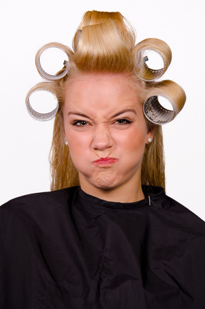 georgeous: Funny portrait with blond girl at the barber shop   Stock Photo