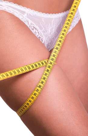 Closeup photo of a Caucasian womans leg. She is measuring her thigh with a yellow metric tape measure after a diet photo