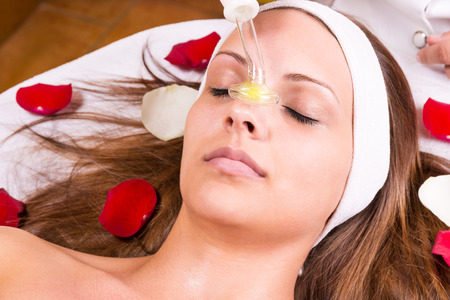 Ozone treatment on face at the beautician.