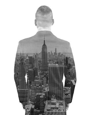 exposicion: Hombres de negocios y la tecnología concepto - doble exposición de hombre de negocios sobre fondo de ciudad Foto de archivo