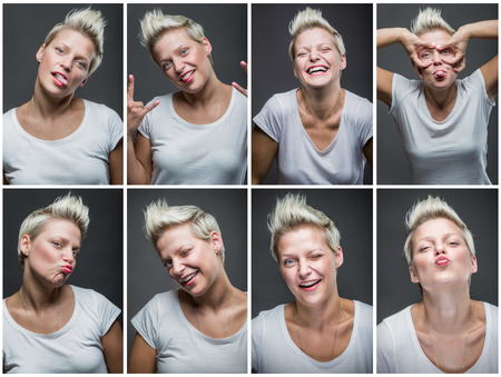 Portraits with different expressions of a young woman on dark gray background.