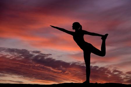 meditation man: Yoga silhouette outdoor at sunset