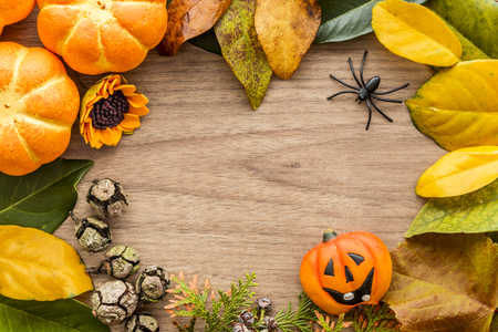 Autumn, Halloween background with leaves and pumpkins. Holiday concept with copy space. 免版税图像