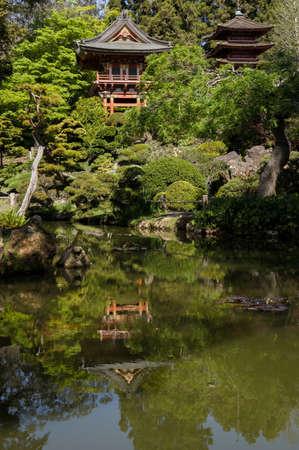 tea house: Japanese Garden Tea House Stock Photo