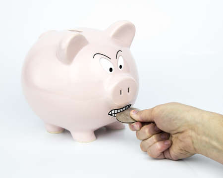 The Piggybank is there trying to get you to save and protect your savings   It will guard every dollar   Piggyback having a tug-of-war over a silver dollar  photo