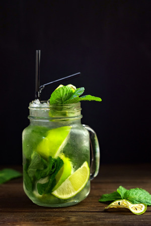 Home-made Mojito in a glass jar with ice Stock Photo