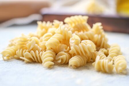Hand made pasta fusilli uncooked. macro