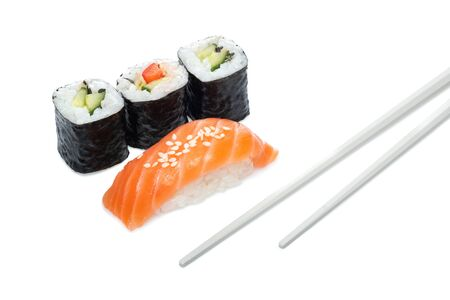 Sushi rolls with cucumber and sushi with salmon and sticks isolated on a white background