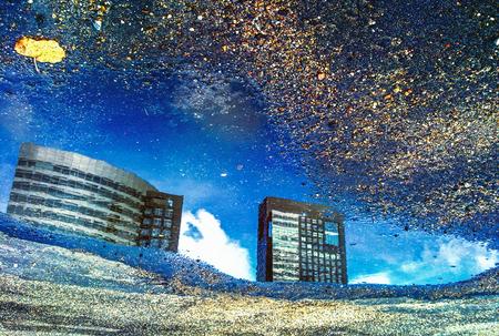 Amsterdam city reflected