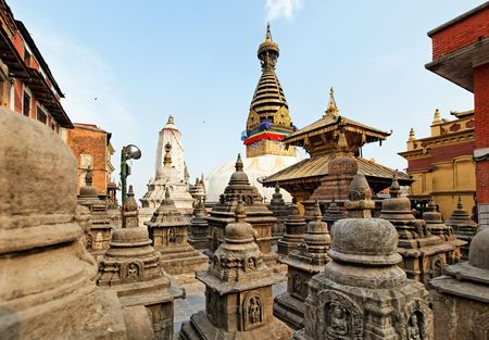 Swayambhunath (monkey temple) stupa on sunset Kathmandu, Nepal