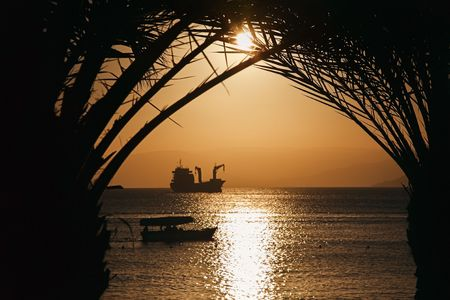 Golden Jordan sunset in Aqaba, red sea Stock Photo