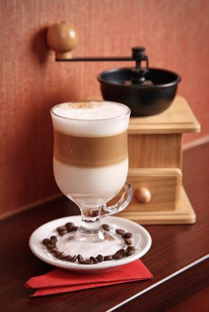 Composition with Latte and coffee-grinder Stock Photo - 7258746