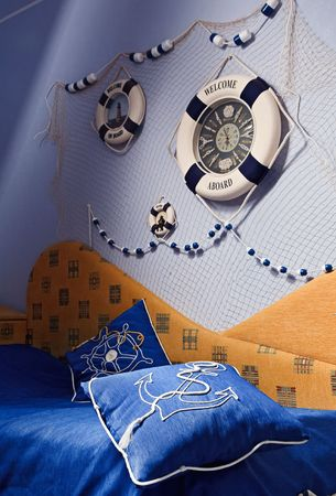 mediterranean style: Detail of bedroom interior in Sea style Stock Photo