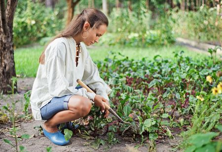 Young woman with hoe working in the garden bed photo