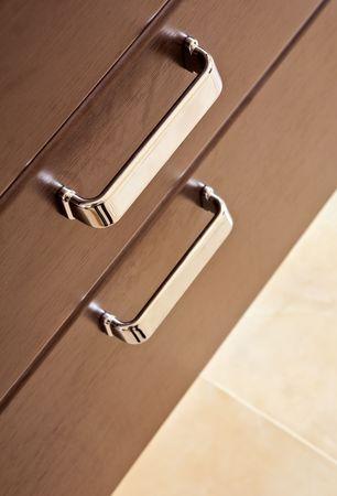 Brown hardwood drawers with metal handle Stock Photo - 7262146