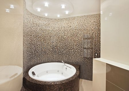 Bathroom with mosaic on wide angle view