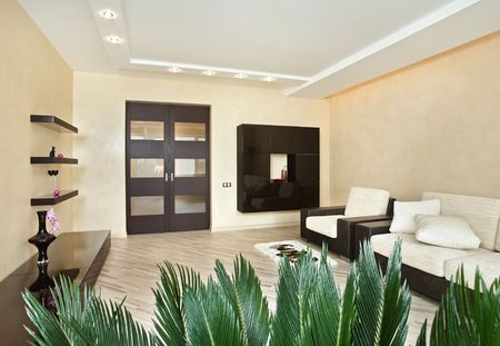 Modern Drawing-room interior in warm tones photo