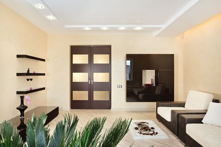 common room: Modern Drawing-room interior in warm tones
