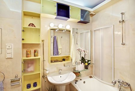 Modern Bathroom in yellow and blue vivid colors photo