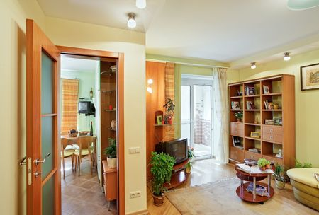 living-room and Kitchen interior view from Passage Stock Photo - 7266396