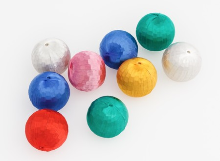New-Year tree decorations multicolored balls isolated on white photo