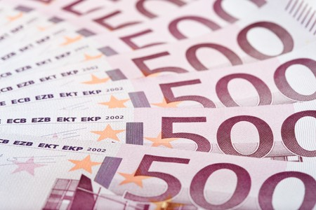 euromoney: 500 Euro bank notes fanned out, macro texture
